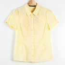 【MASTINA】蕾絲拼接澎短袖襯衫-淺黃