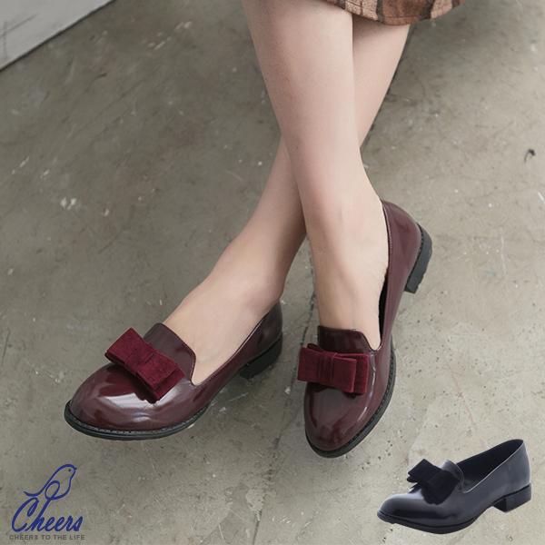 包鞋。CHEERS*絨質蝴蝶結樂福平底鞋-二色【T505】