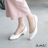 amai都會深U素面低跟鞋 白