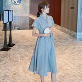 洋裝 短袖法式小眾復古腳踝長裙顯瘦顯高輕熟風氣質可甜可鹽桔梗格子連身裙DB603A紅粉佳人