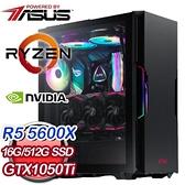 【南紡購物中心】華碩系列【一人三化】AMD R5 5600X六核 GTX1050Ti 電玩電腦(16G/512G SSD)