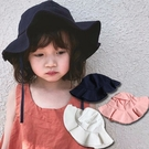 【童】荷葉邊綁繩遮陽漁夫帽 3色【E297466】