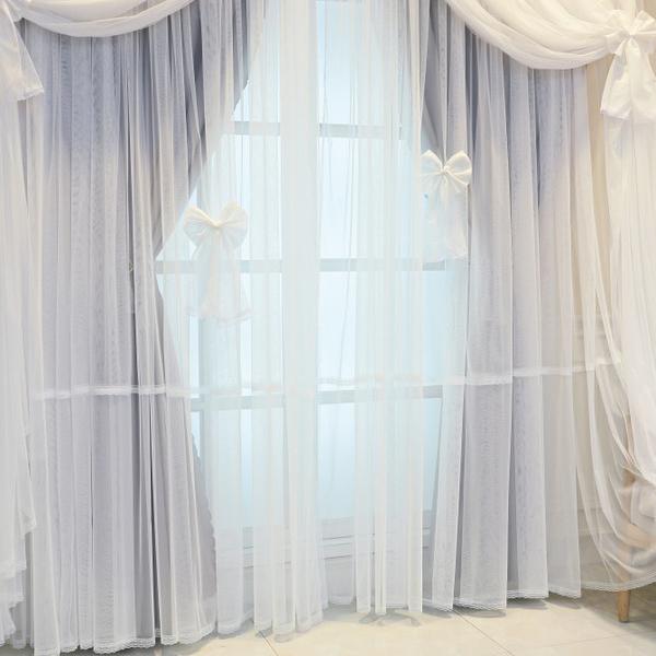 窗簾 韓式成品定制夢幻公主婚房網紅臥室客廳現代四層蕾絲遮光落地窗簾【八折搶購】