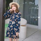 東京著衣-恬靜花語綁帶荷葉洋裝-S.M(170042)