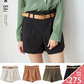 短褲 雙壓褶皮革腰帶短褲M~L號-BAi白媽媽【160887】