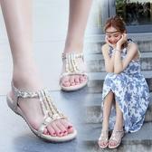 沙灘軟底涼鞋女夏平底新款舒適防滑百搭學生水鉆波西米亞外穿