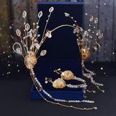 2018新款新娘頭飾韓式超仙發箍金色手工皇冠耳環發飾結婚禮服飾品