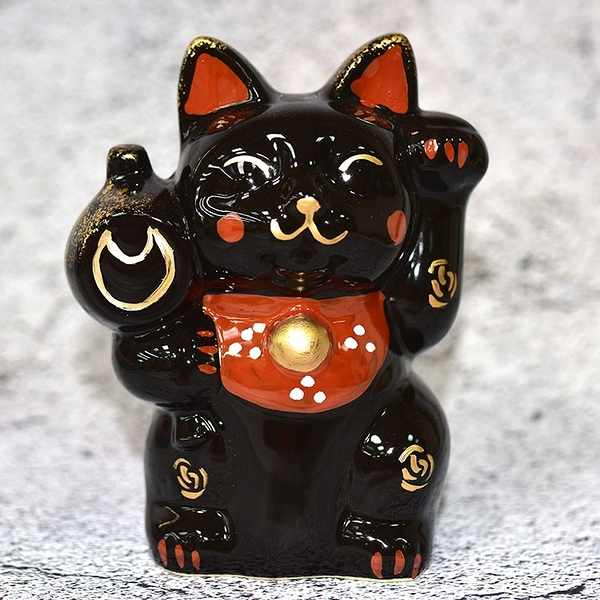 亮面黑色 16cm快樂招財貓 作舍日本製 仿古瀨戶燒