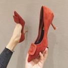 高跟鞋女2020新款時尚百搭方扣小清新仙女細跟尖頭單鞋 LF6445【極致男人】