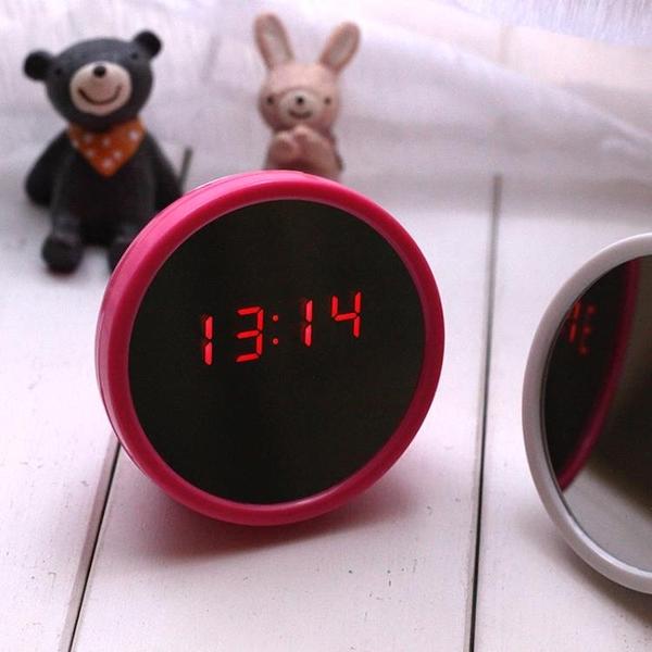 鬧鐘定時器鬧鐘迷你美人鏡子電子鐘床頭時鐘兩用創意兒童夜光靜音HPXW
