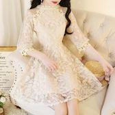 韓版春裝甜美淑女蕾絲花朵拼接泡泡袖高腰收腰顯瘦A字洋裝新款 卡布奇诺