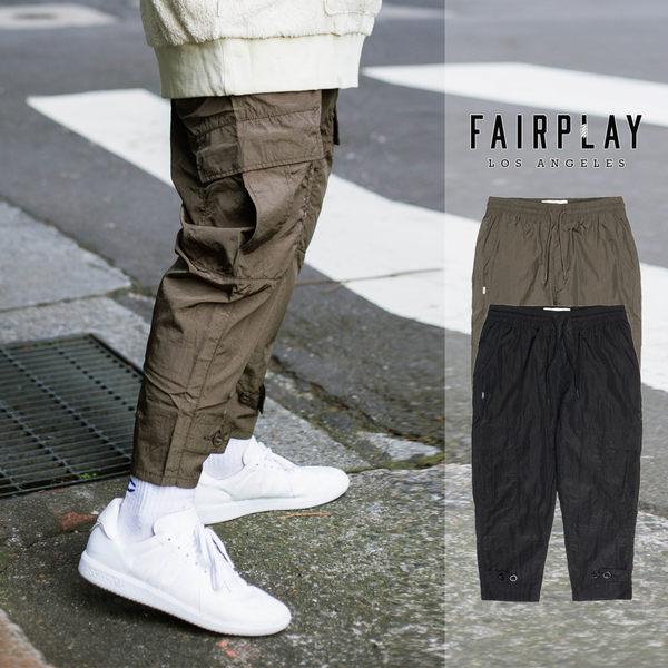 【GT】FairPlay Vernon 黑橄欖綠 七分長褲 抽繩 抓皺 素色 尼龍 寬褲 美牌 現貨 直筒褲 七分褲 大口袋