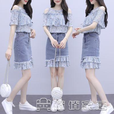 時尚套裝 小個子輕熟風碎花洋裝女2021年新款夏季氣質牛仔裙子兩件套 16【免運快出】