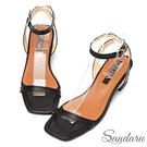 涼鞋 氣質簡約方頭一字帶粗跟涼鞋-黑