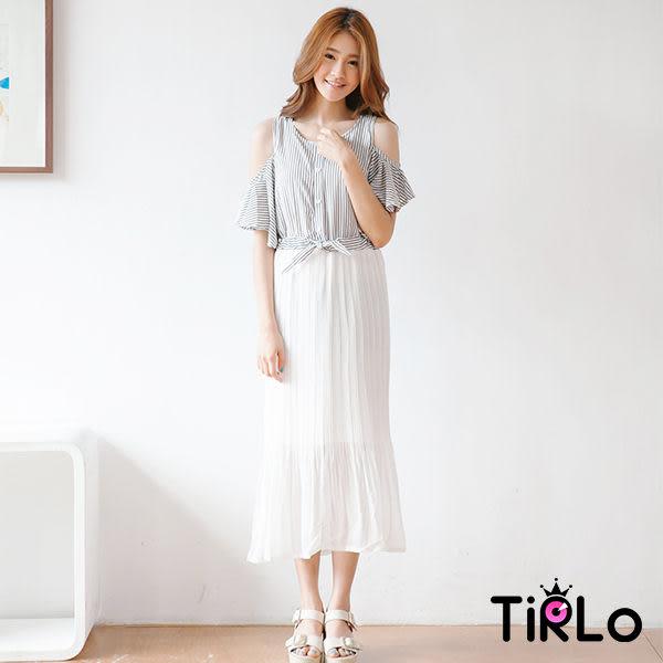 洋裝-Tirlo-露肩寬袖直條紋拼接長紗洋裝-2色