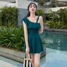 泳衣裙 2021游泳衣韓版性感連體平角遮肚顯瘦裙式溫泉修身保守學生泳裝女 麥琪