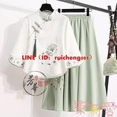 女裝日常改良漢服女中式唐裝上衣兩件套民族風套裝茶藝茶服【聚可愛】