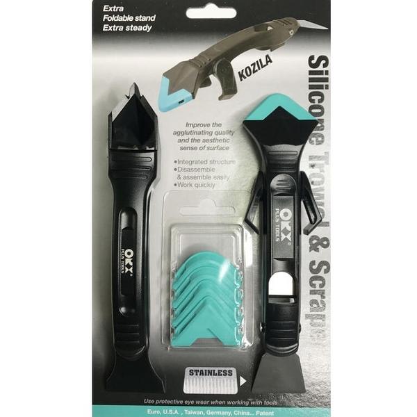 台灣製專利ORX pw121 可收折穩定支架矽利康刮刀 不鏽鋼抹平刮除工具 專業矽力康工具 抹刀