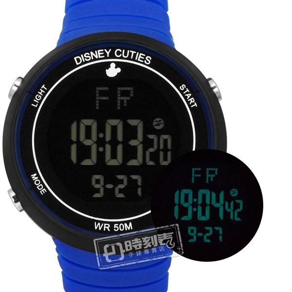 Disney 迪士尼 / DC-55065L / 米奇系列 計時碼錶 鬧鈴 兒童錶 卡通錶 電子 矽膠手錶 黑藍色 43mm