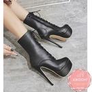 高跟短靴 馬甲綁帶細跟 騎士靴 中靴 踝靴*KWOOMI-A103