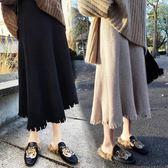 秋冬女新品新款韓版女裝百褶裙針織毛線百搭中長款顯瘦A字半身裙  雙12八七折