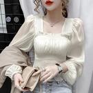 方領上衣 秋裝新款設計感短款泡泡袖雪紡衫薄款透視襯衫女長袖方領上衣-Ballet朵朵