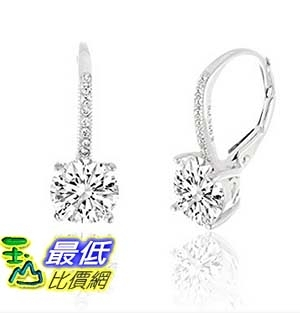 [美國直購] SPECIAL OFFER 18K Gold Over Sterling Silver Round Cubic Zirconia Drop Leverback Earrings 耳環