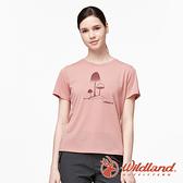 【wildland 荒野】女 彈性LOGO印花圓領上衣『裸粉』0A91611 運動 露營 登山 吸濕 排汗 快乾
