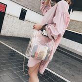 大包包女大氣手提果凍單肩女包流大容量透明子母包側背包  蒂小屋服飾