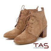 TAS 麂皮擦色素面綁帶高跟短靴-復古棕