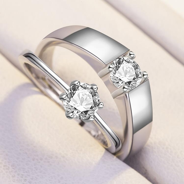 s925純銀情侶戒指男女飾品 結婚一對刻字