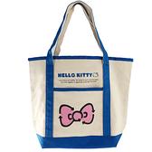 小禮堂 Hello Kitty 橫式帆布側背袋 帆布手提袋 書袋 帆布袋 (米藍 蝴蝶結) 4550337-54655