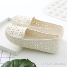 夏季女款洞洞鏤空女鞋塑料白色涼鞋防滑平底護士鞋孕婦媽媽鞋舒適『新佰數位屋』