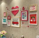 實木照片牆相框牆客廳心形照片牆結婚禮物相...