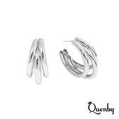Quenby 冷淡風金屬多層圓環耳環/耳針-銀色
