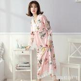 絲綢睡裙長袖宮廷蕾絲甜美睡衣寬鬆長款冰絲睡裙家居服夏  居家物語