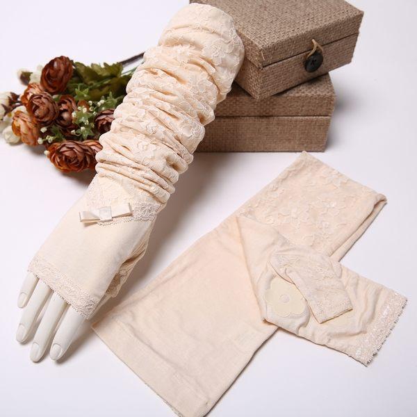 夏季女士開車長款袖套防曬蕾絲手套夏天遮陽防紫外線套袖 薄   -82220012