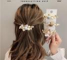 頭飾 優雅甜美少女網紅髮仿珍珠髮夾後腦勺頂夾氣質輕奢彈簧夾子頭飾品