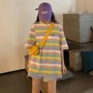 長款上衣 正韓夏季條紋短袖寬鬆上衣女裝中長款日系上衣顯瘦-Ballet朵朵