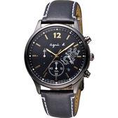agnes b. 巴黎城市戀人三眼計時手錶-黑x金時標/39mm V175-0DP0C(BU8014P1)