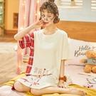 短袖睡裙 睡裙女夏季短袖純棉薄款睡衣可愛卡通性感寬松休閑全棉中裙家居服