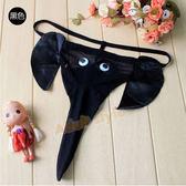 情趣內褲 低腰 情趣用品 男人也瘋狂(黑色)長鼻象性感丁字褲『1111購物季』