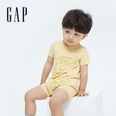 Gap嬰兒 純棉立體動物短袖包屁衣 691273-黃色