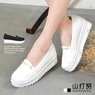 小白鞋 金屬釦軟底厚底鞋休閒鞋