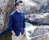 棉麻上衣 中國風男裝大碼七分袖盤扣棉麻襯衫男士復古亞麻青年立領唐裝半袖