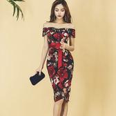 2018新款女裝春裝韓版修身時尚連衣裙一字領氣質印花系帶禮服裙 限時八折鉅惠 明天結束