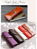 歐洲古典紋飾復古捆綁式三折皮質筆袋化妝袋【瞎拼有理】
