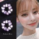 925純銀針  韓國優雅氣質  浪漫紫鋯...