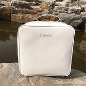 化妝包 北京專櫃蘭蔻白色方形洗漱收納化妝箱包帶鏡帶手環手提帶鏡