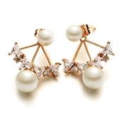 耳環 玫瑰金 925純銀鑲鑽-迷人珍珠生日情人節禮物女飾品2色73gs19【時尚巴黎】